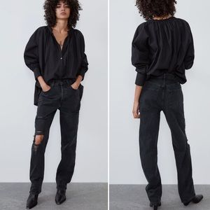 Zara Black Low Rise Distressed Boyfriend Jeans - 4